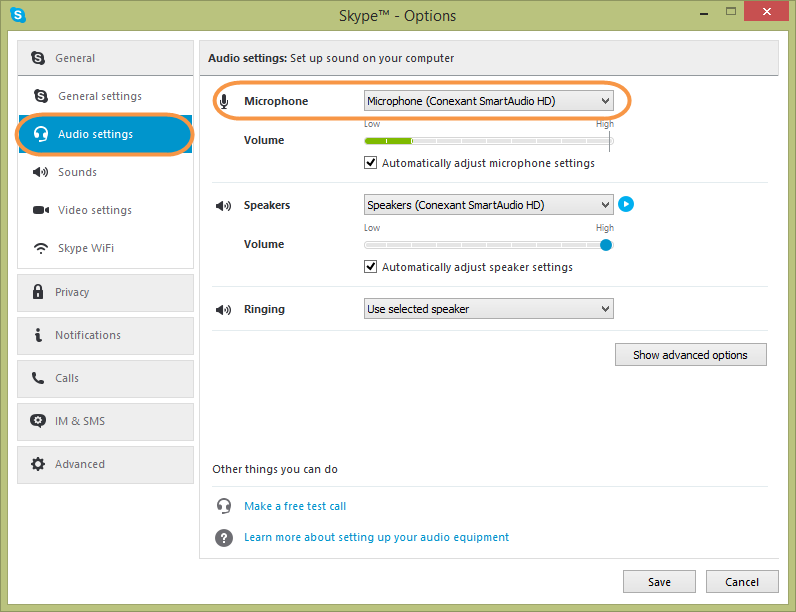 comment augmenter volume micro skype