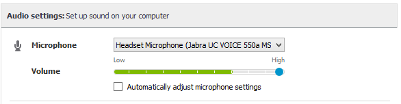 Audio settings options for microphone and volume.