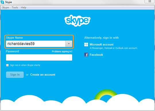 Skype Name selected in the Skype sign-in screen.