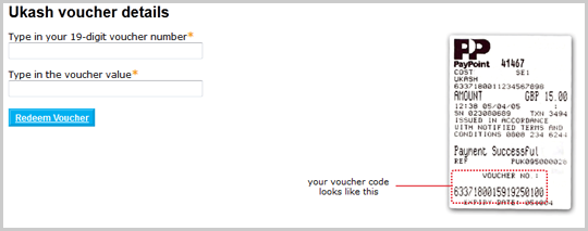 Text fields to enter the Ukash voucher number and its value. An example of the voucher is displayed.